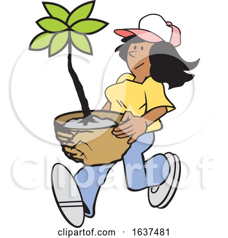 Cartoon Black Gardener Woman Carrying a Potted Plant by Johnny Sajem