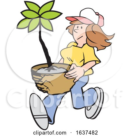 Cartoon White Gardener Woman Carrying a Potted Plant by Johnny Sajem