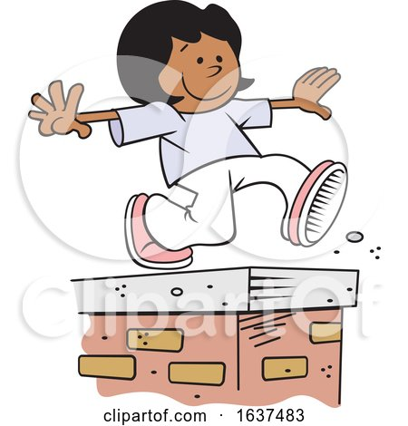 Cartoon Black Girl Walking on Top of a Brick Wall by Johnny Sajem