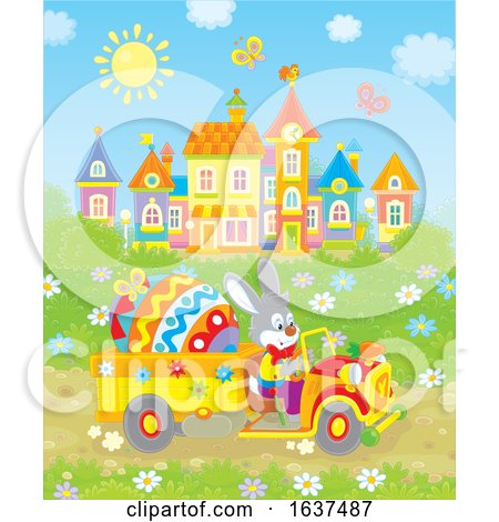 Bunny Rabbit Driving a Giant Easter Egg in a Truck Posters, Art Prints
