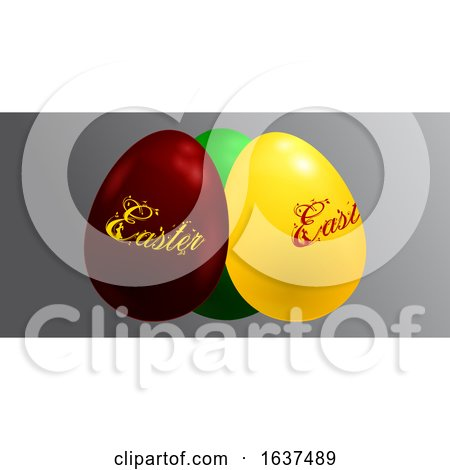 3D Trio of Decorated Easter Eggs on Gray Panel Posters, Art Prints