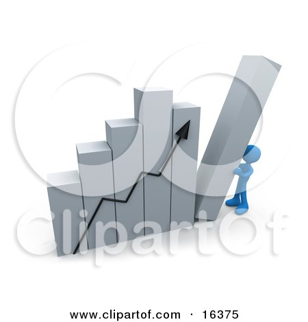 Blue Person Pushing Up The Last Column On A Bar Graph Chart, Symbolizing Effort And Success  Posters, Art Prints