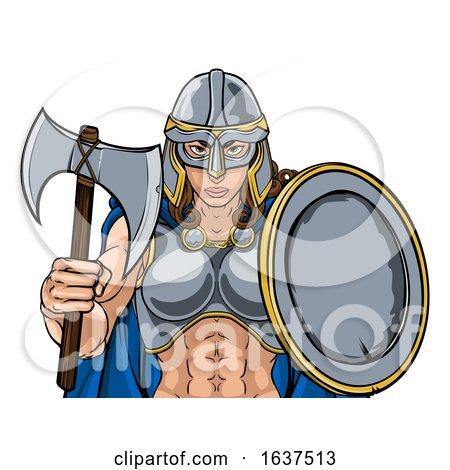 Viking Trojan Spartan Celtic Warrior Knight Woman by AtStockIllustration