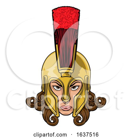 Spartan Trojan Athena Britannia Woman Warrior by AtStockIllustration