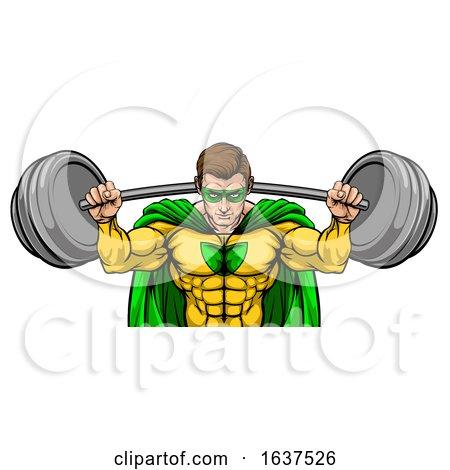 Superhero Mascot Weightlifter Lifting Big Barbell by AtStockIllustration