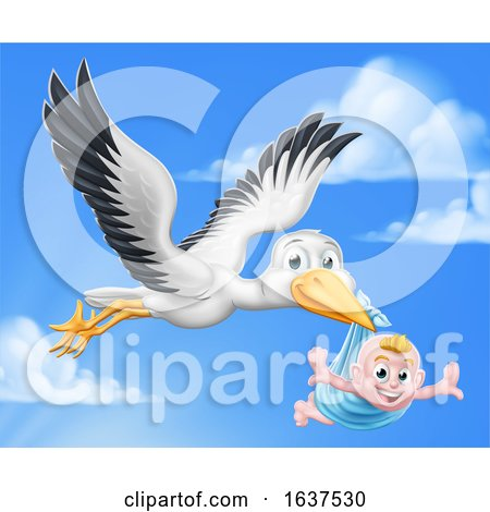 Stork Cartoon Pregnancy Myth Bird with Baby Boy by AtStockIllustration