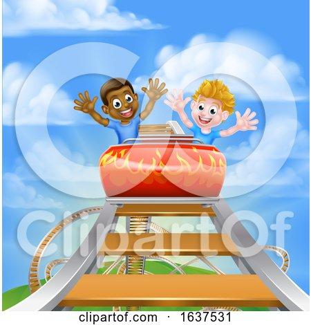 Kids on Roller Coaster by AtStockIllustration