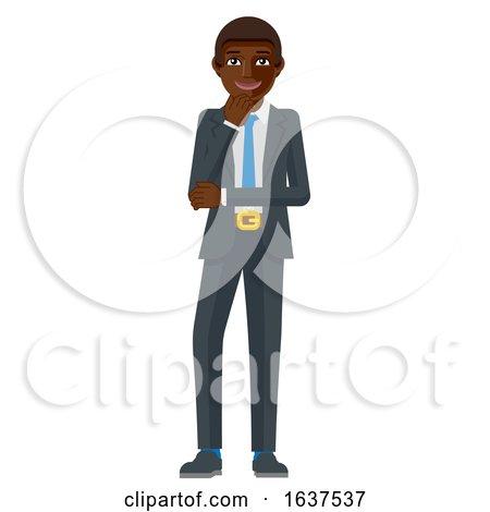 Black Business Man Thinking Mascot Concept by AtStockIllustration