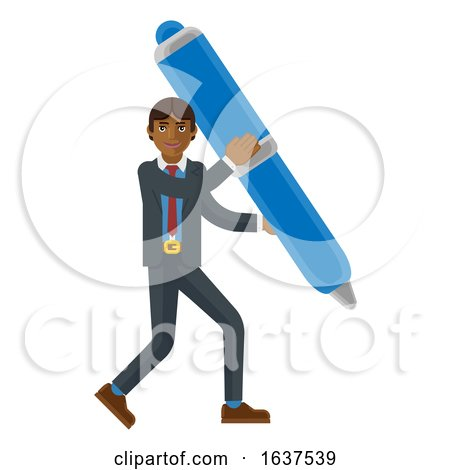 Asian Business Man Holding Pen Mascot Concept by AtStockIllustration