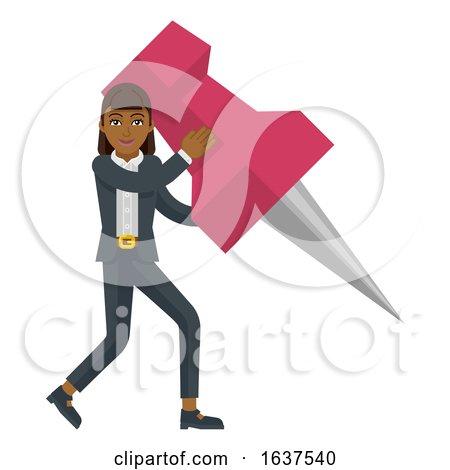 Business Woman Holding Thumb Tack Pin Mascot by AtStockIllustration