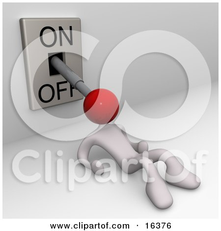 Collapsed Or Exhausted White Person With Their Head Attached To An On/off Lever With The Position To Off  Posters, Art Prints