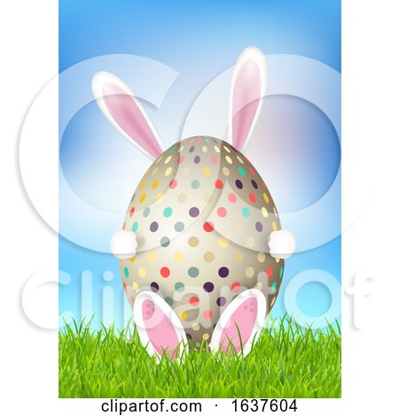 Cute Easter Background with Bunny Holding Egg Posters, Art Prints