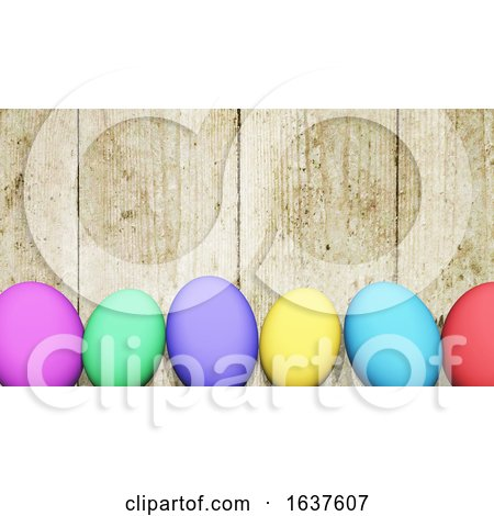 3D Easter Eggs Against a Wooden Texture Posters, Art Prints