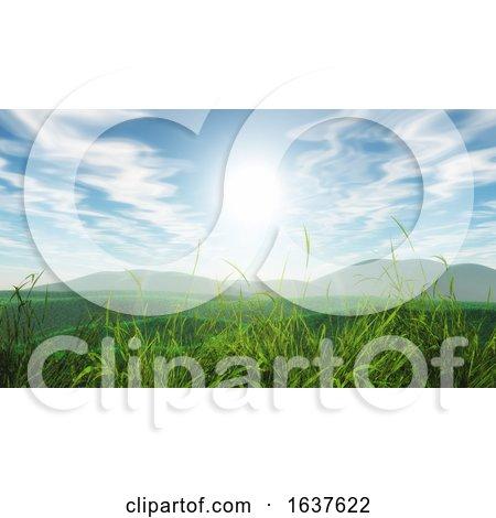 3D Grassy Landscape Against a Blue Sunny Sky by KJ Pargeter