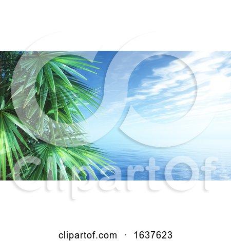 3D Palm Trees Against a Blue Ocean Landscape by KJ Pargeter