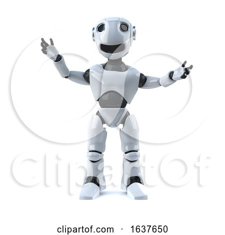3d Happy Robot, on a White Background by Steve Young