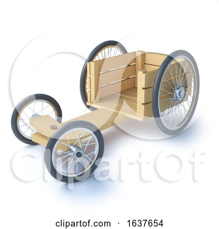 3d Wood Soapbox Go Cart, on a White Background by Steve Young