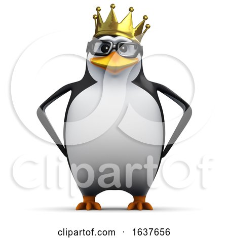 3d Happy Penguin King, on a White Background by Steve Young