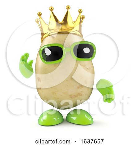 3d Potato King, on a White Background by Steve Young