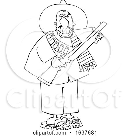 Cartoon Black and White Armed Bandito Holding a Rifle Posters, Art Prints