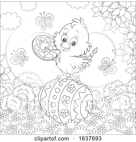 Black and White Spring Chick Painting an Easter Egg Posters, Art Prints