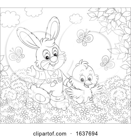 Black and White Spring Bunny Rabbit and Chick by Alex Bannykh