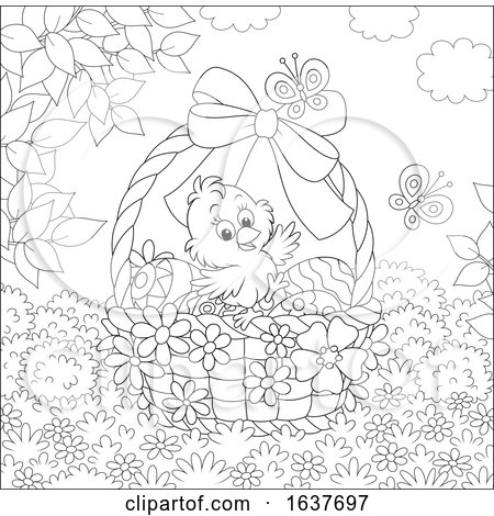 Black and White Spring Chick in an Easter Basket Posters, Art Prints