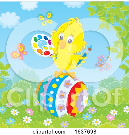 Spring Chick Painting an Easter Egg Posters, Art Prints