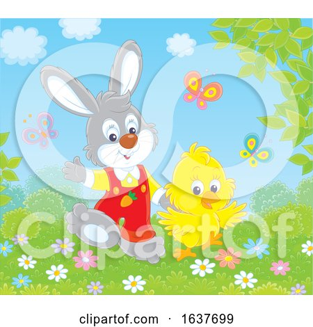 Spring Bunny Rabbit and Chick by Alex Bannykh