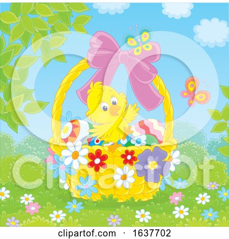 Spring Chick in an Easter Basket Posters, Art Prints