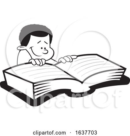 Cartoon Grayscale Black Boy Reading a Book by Johnny Sajem