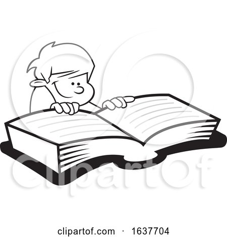 Cartoon Grayscale Boy Reading a Book by Johnny Sajem