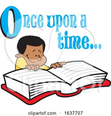 Cartoon Black Boy Reading a Fairy Tale Book by Johnny Sajem