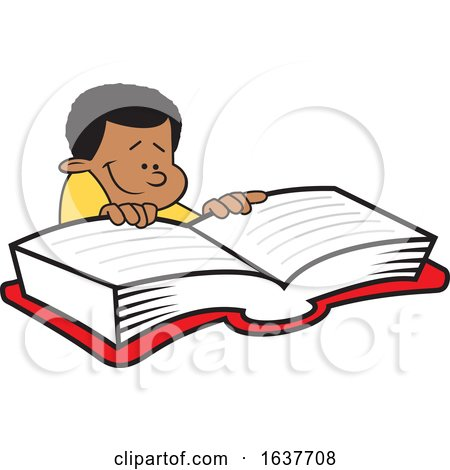 Cartoon Black Boy Reading a Book by Johnny Sajem