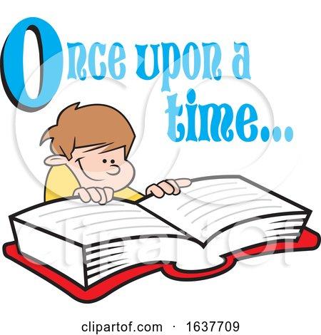 Cartoon White Boy Reading a Fairy Tale Book by Johnny Sajem