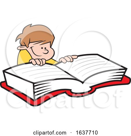 Cartoon White Boy Reading a Book by Johnny Sajem