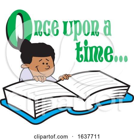 Cartoon Black Girl Reading a Fairy Tale Book by Johnny Sajem