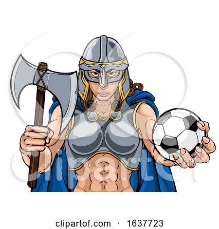 Viking Trojan Celtic Knight Soccer Warrior Woman by AtStockIllustration