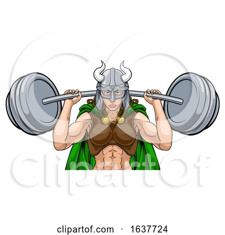 Viking Warrior Woman Weightlifter Lifting Barbell by AtStockIllustration
