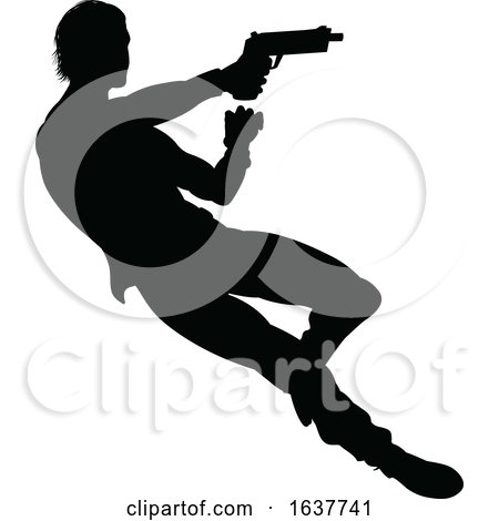 Action Movie Shoot out Person Silhouette by AtStockIllustration