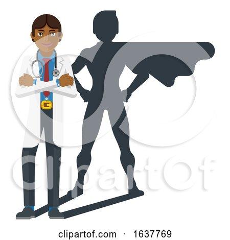 Young Medical Doctor Super Hero Cartoon Mascot by AtStockIllustration