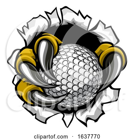 Golf Ball Eagle Claw Talons Ripping Background by AtStockIllustration