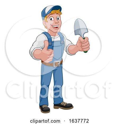 Gardener Cartoon Garden Spade Handyman Farmer by AtStockIllustration
