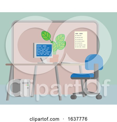 Office Desk Flat Background Interior Cartoon by AtStockIllustration