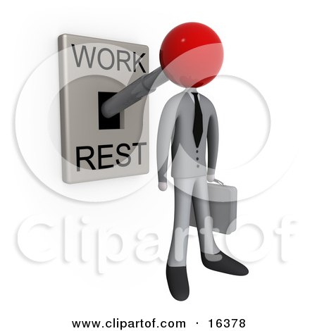 Businessman With His Head Attached To A Lever That Is In Work Mode, Carrying A Briefcase Clipart Illustration Graphic by 3poD