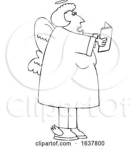 Cartoon Black and White Chubby Female Angel Singing by djart