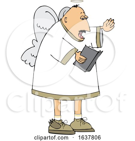 Cartoon White Male Angel Singing by djart
