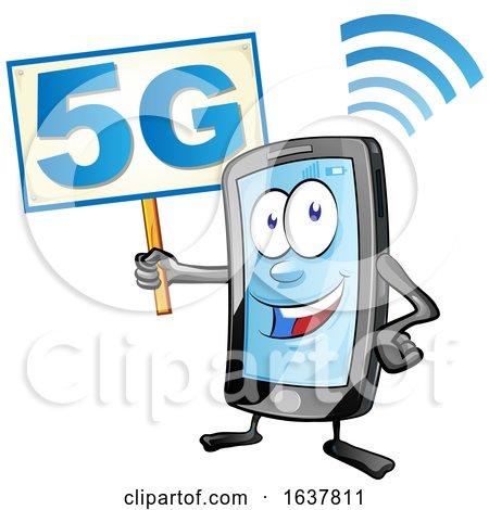 Cartoon Smart Phone Mascot Holding a 5G Sign by Domenico Condello
