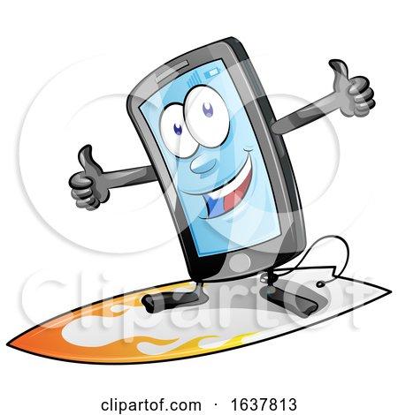 Cartoon Smart Phone Mascot Surfing by Domenico Condello