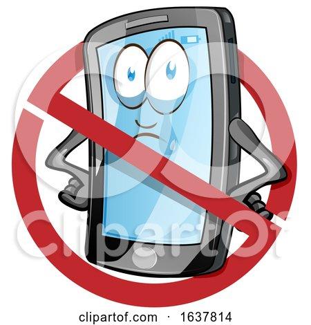 Cartoon Smart Phone Mascot in a Prohibited Symbol by Domenico Condello